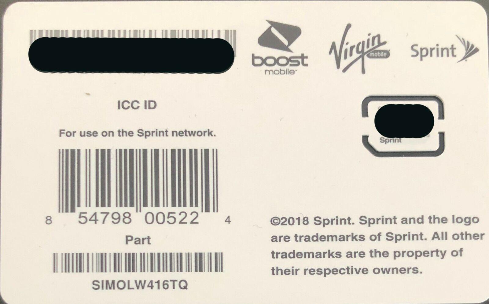 Sprint/Boost/Virgin Nano Sim Card for Samsung Galaxy Note 10