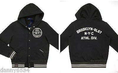 Men's Polo Ralph Lauren Brooklyn NY Basketball Varsity Fleece Hoodie Jacket Coat