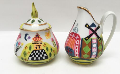 Mary Blair Inspired Small World Vintage Creamer and Sugar Bowl Hand Painted