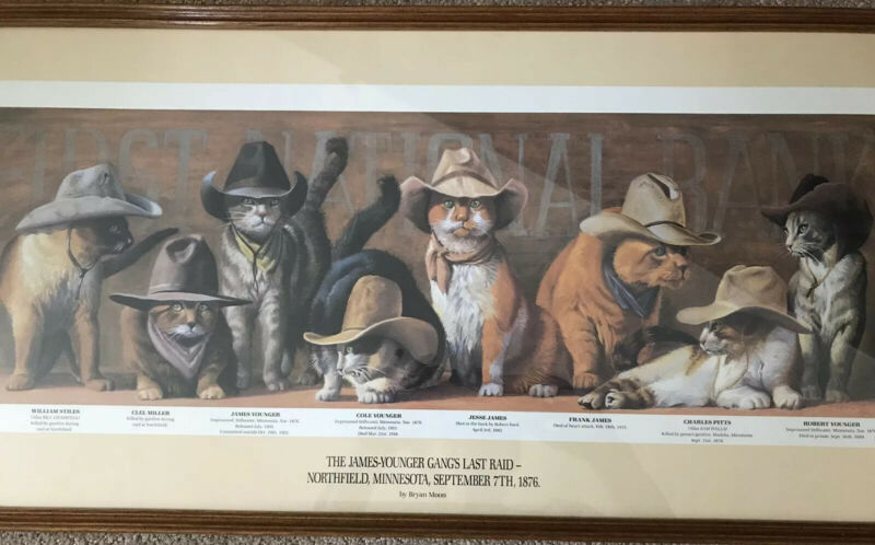 BRYAN MOON James Younger Gangs Cats Print SIGNED Cowboy Outlaws Old West Framed