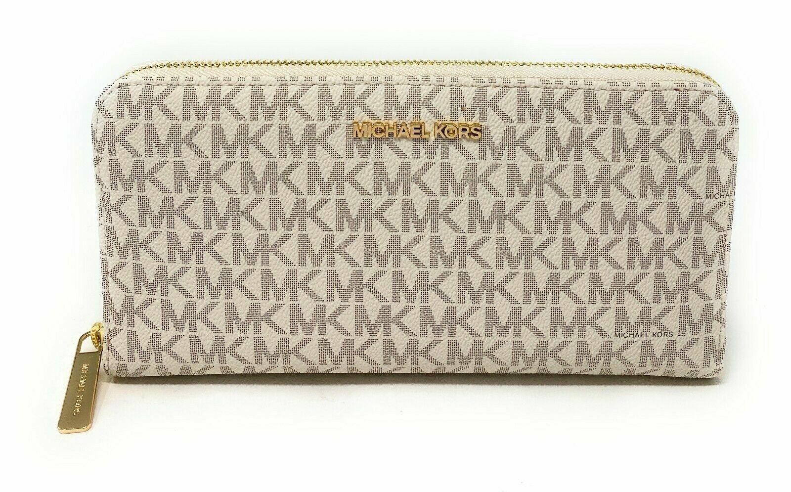 Michael Kors Jet Set Travel XL Zip Around Wallet PVC Leather Signature