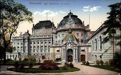 Wiesbaden Hessen AK 1914 Theater Bauwerk Staatstheater Königliches Hoftheater