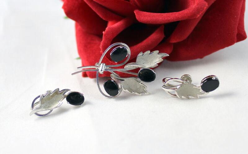 Sterling Silver 7.28 Onyx Leaf Pin Brooch Earrings  Set  FERAL CAT RESCUE
