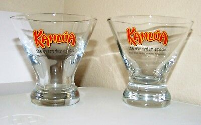 KAHLUA Cocktail Glasses, Heavy Bottom, 6 OZ Fluted -The Everyday Exotic-Set of 2 ()