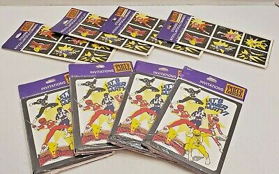Power Rangers Invitations (Vintage 1994 Power Rangers Birthday Invitations (4 Packs) and Stickers (4)