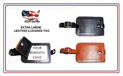 LUGGAGE TAG - LEATHER - STICHED - NICE! EXCELLENT QUALITY ()