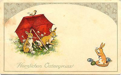 Ostern, Hasen mit Regenschirm, Farb-Litho, Feldpost AK 1916