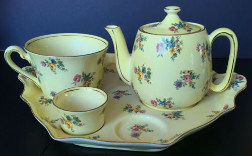 Vintage Royal Winton Grimwades Yellow With Floral Bouquets Partial Breakfast Set