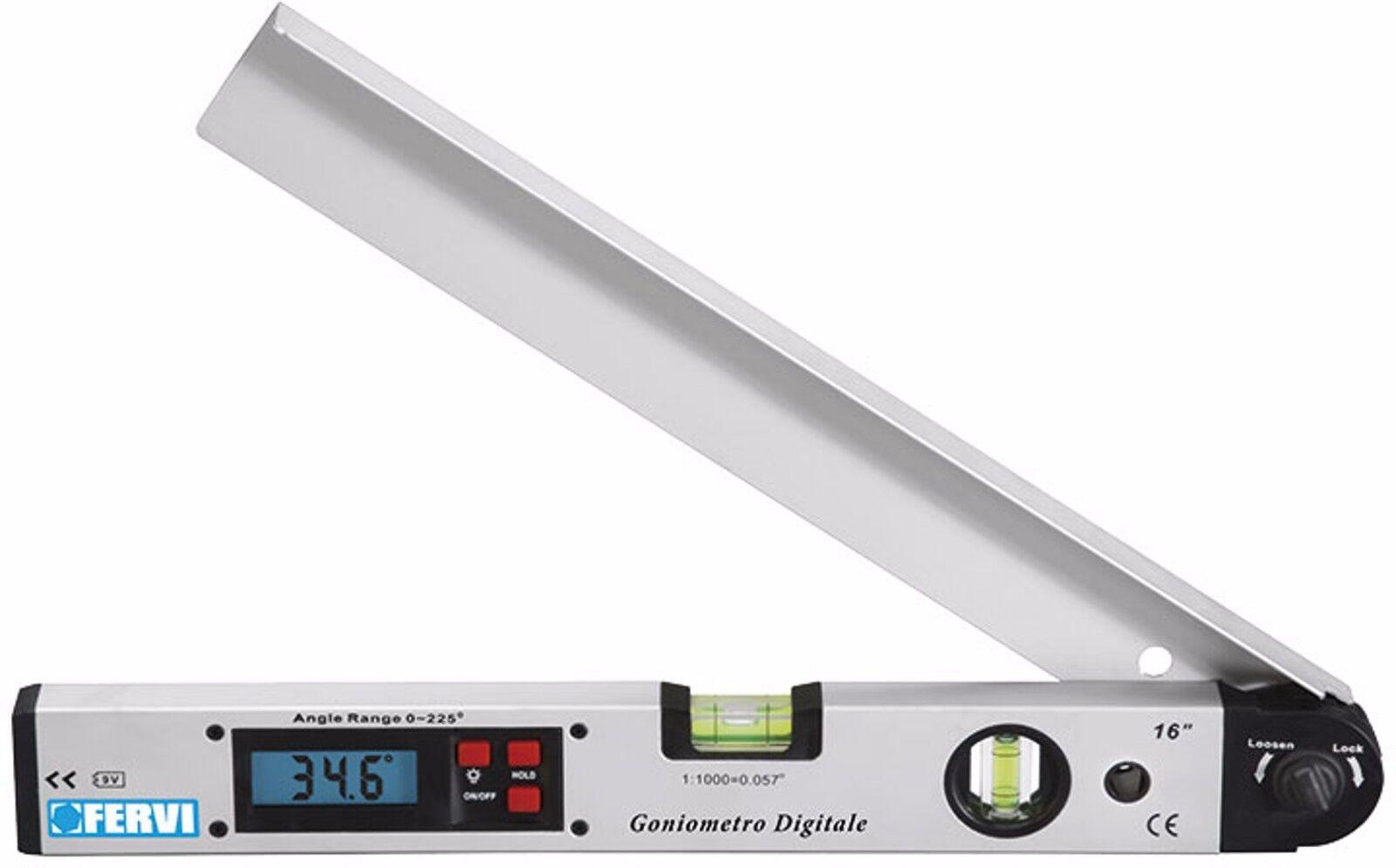 Goniometro digitale e livella con 2 fiale Fervi G008 misurazioni angoli