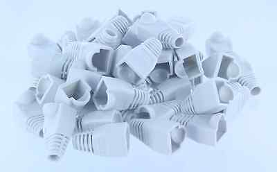 50pcs White CAT5E CAT6 RJ45 Ethernet Network Cable Strain Relief Boots