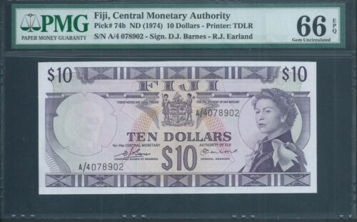 FIJI $10 P74b ND(1974) Earland/Barnes Sign PMG 66 EPQ Gem Uncirculated.