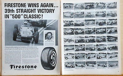 1954 Two Page Magazine Ad For Firestone Tires   Indy 500 Winner Photos  R Ward