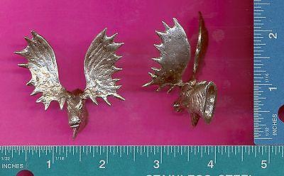 4 wholesale lead free pewter moose head mount figurines F6037