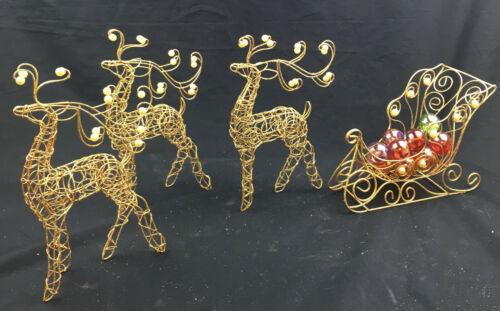 (3) Gold Wired Reindeer & (1) Sleigh - Faux Pearls on Reindeer