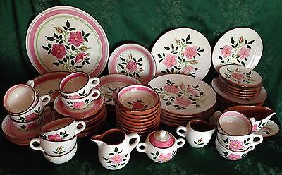 66 PCS NEW 1955 Stangl Pottery Wild Rose Hand Painted Dinnerware Set