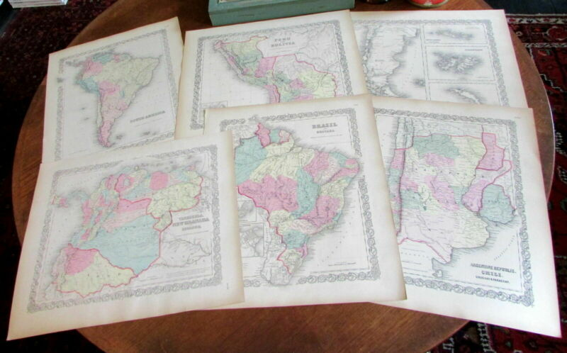 South America 1855 maps Colton Lot x 6 lovely large Chile Brazil Argentina