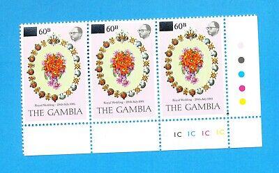GAMBIA - Scot 439 - VFMNH Traffic Light strip - 60b on 75b Royal Wedding - 1982