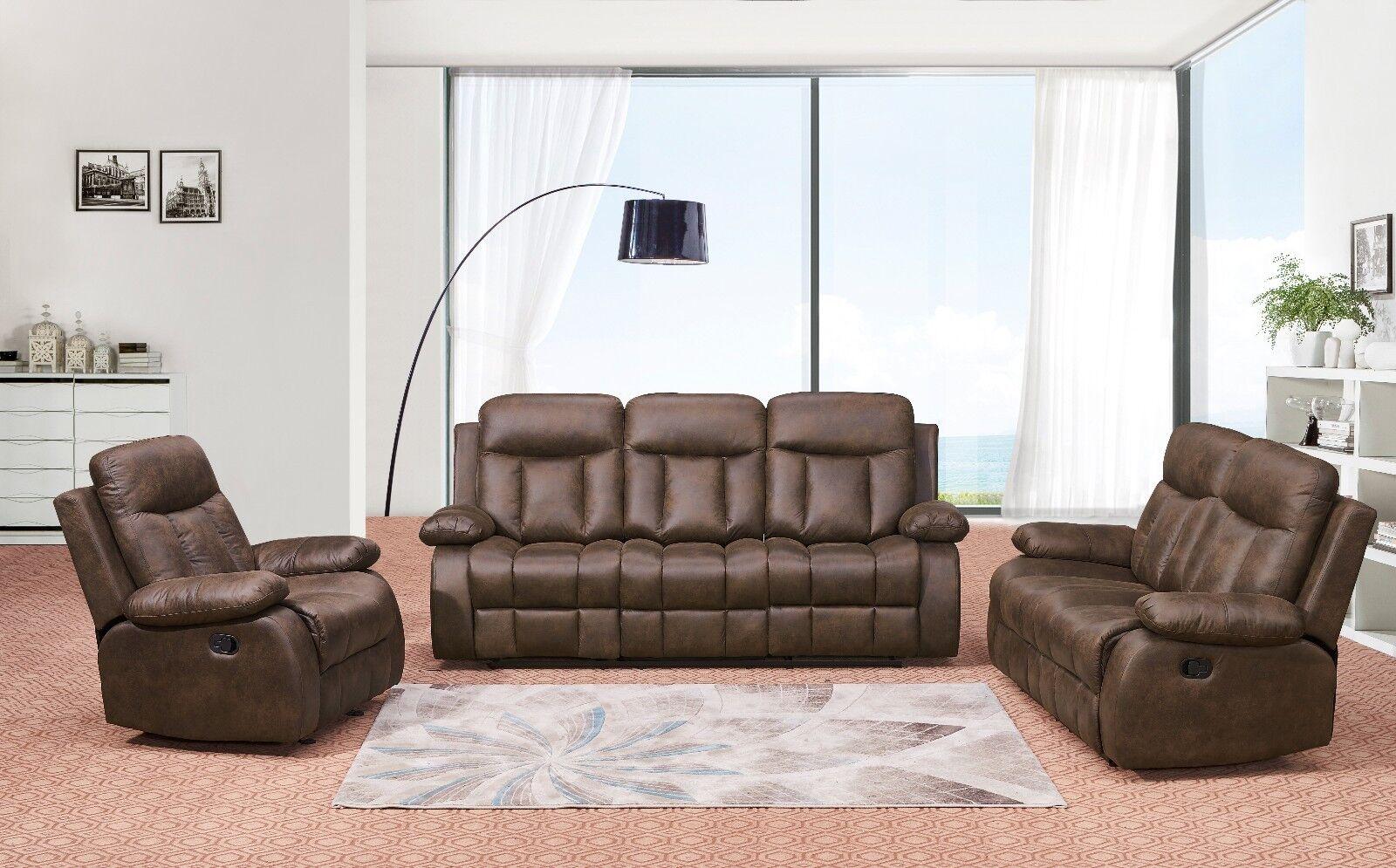 Betsy Furniture 3-PC Recliner Sofa Set Living Room Microfibe