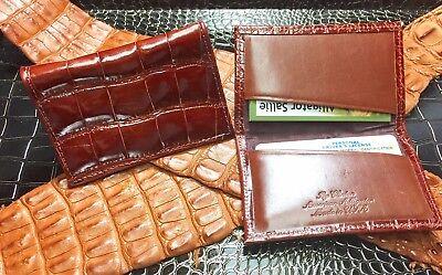 - $395 Cognac Alligator Card Holder Gusseted Card Case Business Card Holder Real