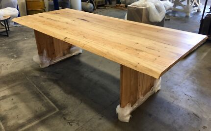 Gentil Brand New Recycled Wormy Chestnut Dining Table With Live Edge