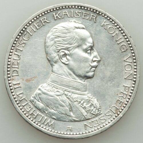 GERMANY / GERMAN STATES  PRUSSIA 1913-A  5 MARK SILVER COIN, ALMOST UNCIRCULATED