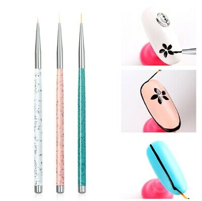 3PCS Nail Art Pen Dotting Painting Drawing UV Gel Liner Polish Brush Tool Set M