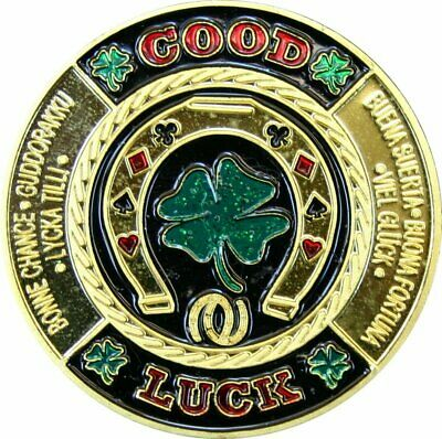 "ORIGINAL POKER CARD GUARD ECHT VERGOLDET ""GOOD LUCK"" Kleeblatt"