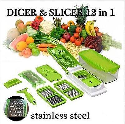 12 In 1 Vegetable Fruit Nicer Slicer Dicer Plus Chopper Cutter Peeler Food Proce