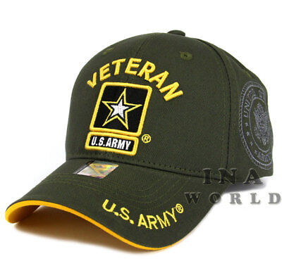 U.S. ARMY hat cap Military VETERAN ARMY STRONG Licensed Baseball cap- Olive/Gold