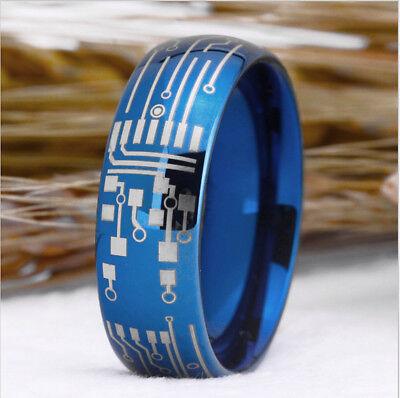 Shiny Dome (US Design Circuit Board 8MM Tungsten carbide Ring Shiny Blue Dome Men's Jewelry )