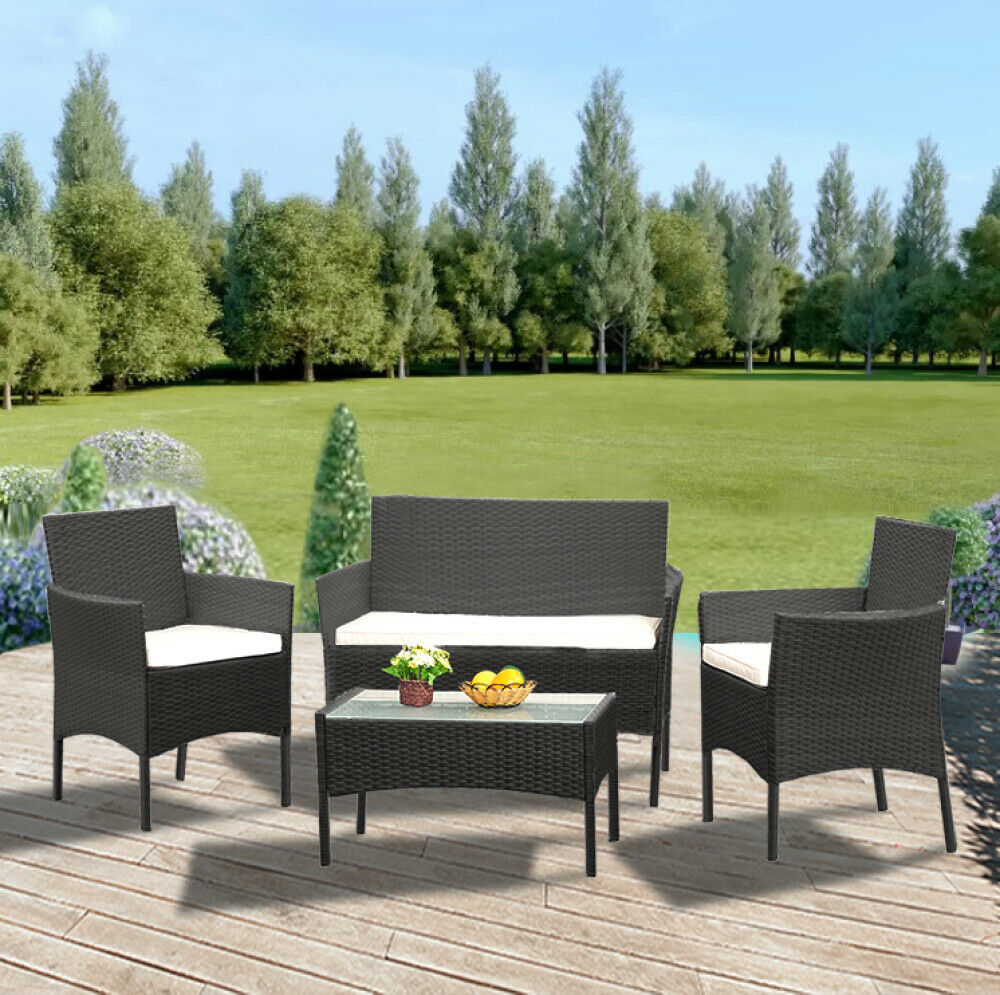 Garden Furniture - 4Pcs/Set Rattan Table+Chair Set Garden Furniture Set Sofa Patio Outdoor Hotel