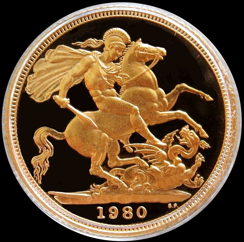 1980 GOLD GREAT BRITAIN 3.99 GRAM 1/2 SOVEREIGN COIN GEM PROOF IN CAPSULE  - $238.55
