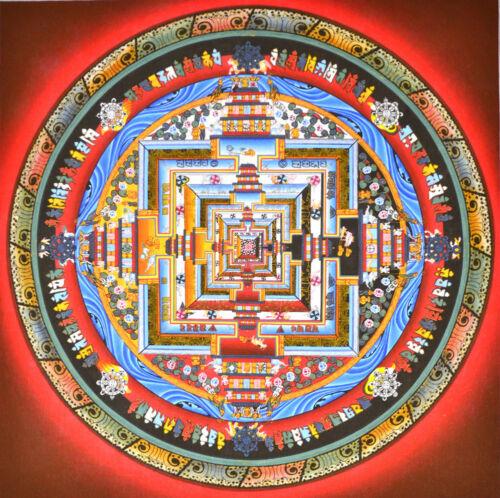 BLESSED FENG SHUI TIBETAN MINERAL THANGKA! MANDALA KALACHAKRA MASTER OF TIME