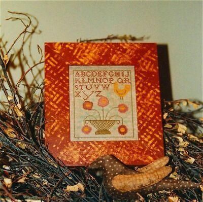 Ewe & Eye & Friends GOLDEN BIRD Cross StitchSS Chart ~ flower basket sampler