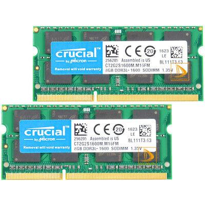 Crucial 2X 8 GB 2RX8 DDR3L 1600 MHz PC3L-12800S SODIMM Laptop Speicher RAM 16GB#