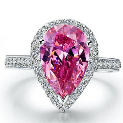 (Natural Pink Pear Cut Sapphire Gemstone Ring White Topaz Accents Pink Pear Ring)