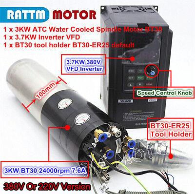 3kw Bt30 220v 380v Atc Water Automatic Tool Change Spindle Motor W Inverter Vfd
