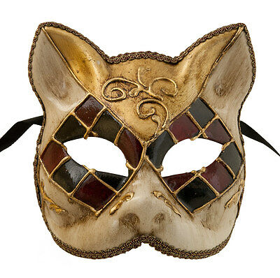 Mask Cat Venetian Carnival Venice-Mosaic Black Bordeaux Golden -1943-V83B
