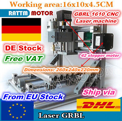 【DE】 3 Axis Desktop 1610 DIY Mini CNC Router Kit Engraver Milling Laser Machine