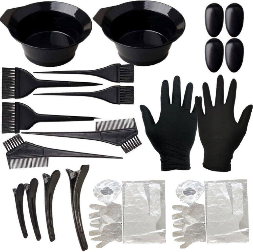 22 Pcs Hair Coloring Dyeing Kit Color Dye Brush Comb Mixing Bowl Salon Tint Tool Brushes & Combs