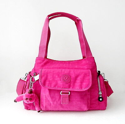 NWT Kipling Fairfax Large Shoulder Bag With Furry Monkey Very Berry