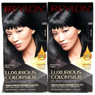 Blue Black Hair Dye - 2 Revlon Luxurious Colorsilk Buttercream Permanent Hair Dye 12BB Blue Black