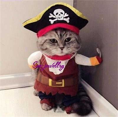 Pet Small Dog Cat Pirate Costume Outfit Jumpsuit Clothes for Halloween - Halloween Clothes For Dogs