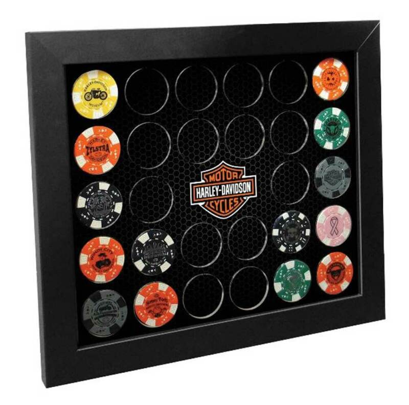 Harley-Davidson Poker Chip Collectors Frame, Holds 28 Chips, Made in USA 6925