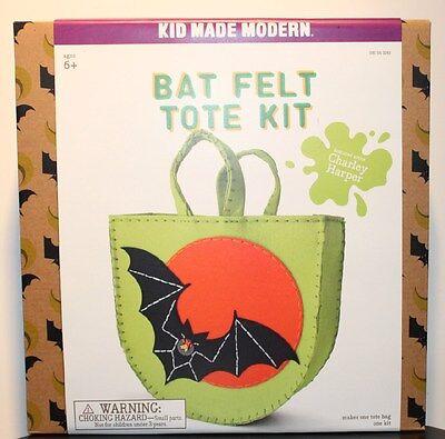 HALLOWEEN TRICK-OR-TREAT BAG Bat Felt Tote Kit Kid Maker Modern Sewing Craft NEW