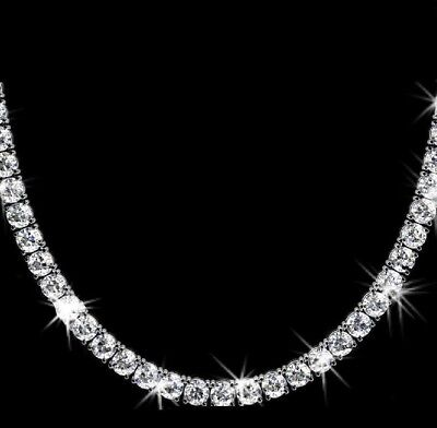 - 30 Ct Round Cut VVS1/D Diamond Tennis Necklace Solid 14K White Gold Over