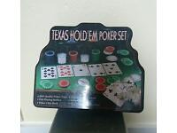 Texas hold em poker set, cloth and chips