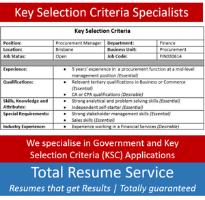 resume selection criteria in melbourne region vic gumtree