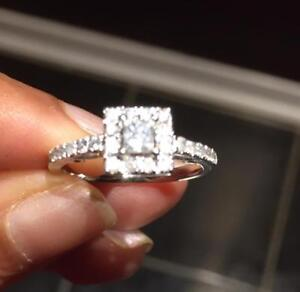 Brand New Natural Diamonds in White Gold Engagement Ring (Size 7) Halo Style with Princess Cut Center Stone