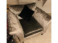 Silver crushed velvet arm chair